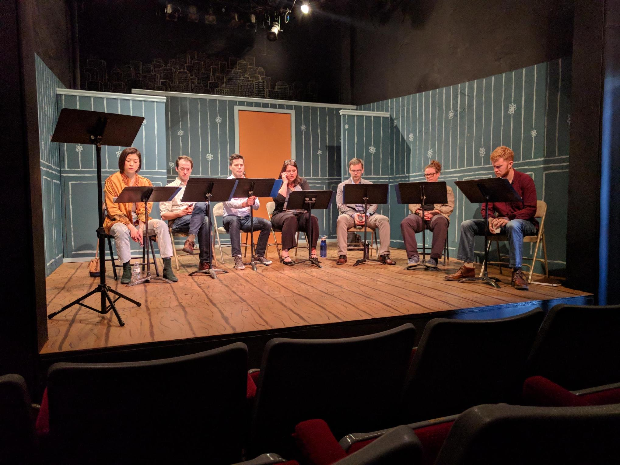 Reading Cast (from left): Amy Tsang, Tyler Seiple, Brice Williams, Stephanie Lesh-Farrell, Tommy Burr, Kerrie Blaisdell, Caleb Haydock