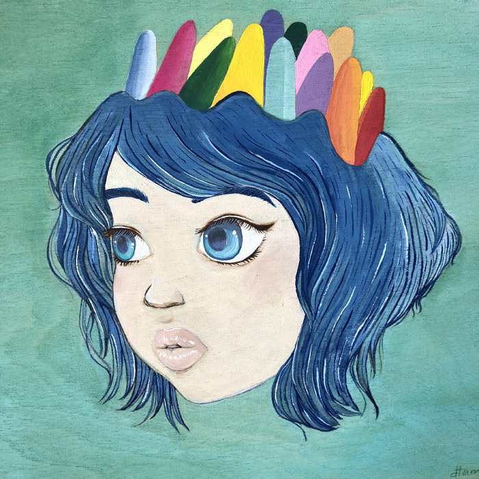 Green Blue Crown Girl - Gouache on Birch, 2018