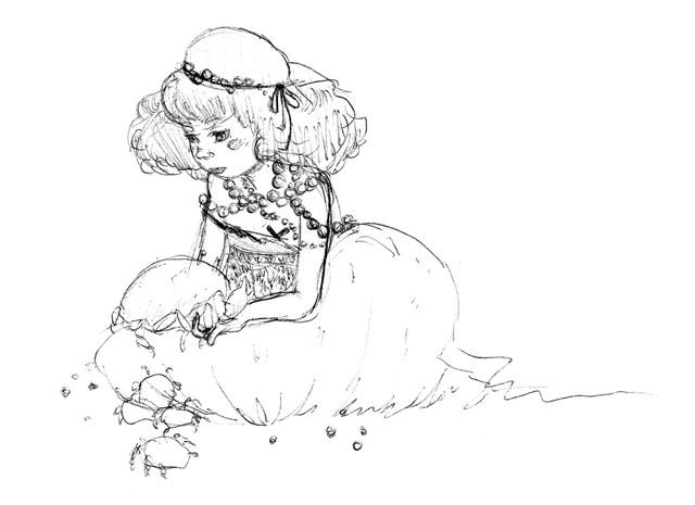 Crab Girl Sketch - Graphite Pencil, 2011
