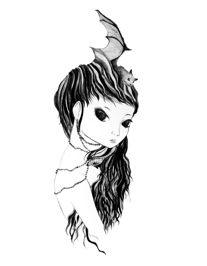 Bat Girl - Graphite Pencil, 2011