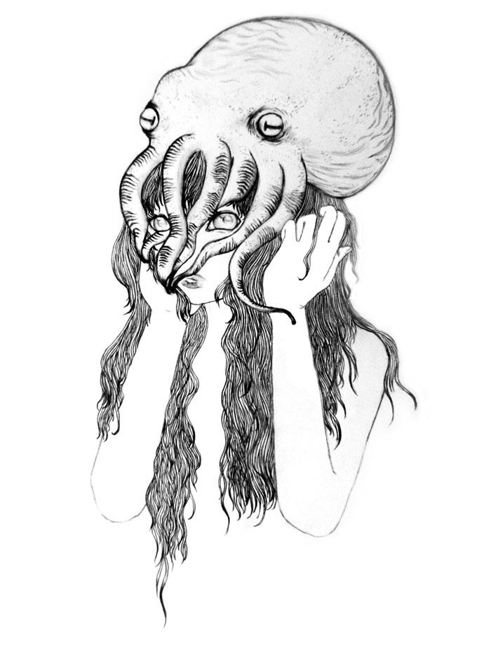 Octopus Girl - Graphite Pencil, 2011