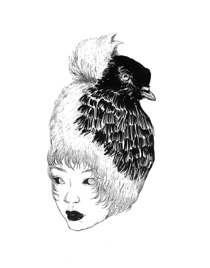 Darwin's Pigeons pt 3 - Copic Pen & Pental Ink Brush, 2017