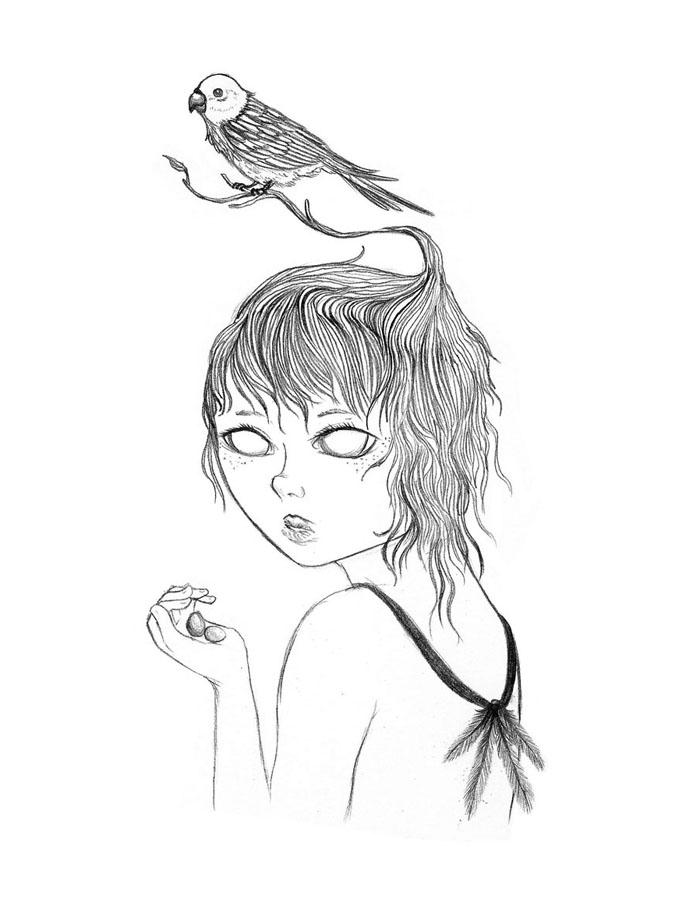 Parrot Girl - Graphite Pencil, 2011