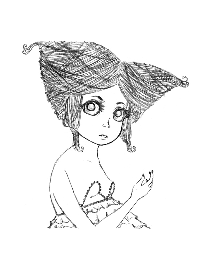 Twisted Hair Girl Sketch - Graphite Pencil, 2011