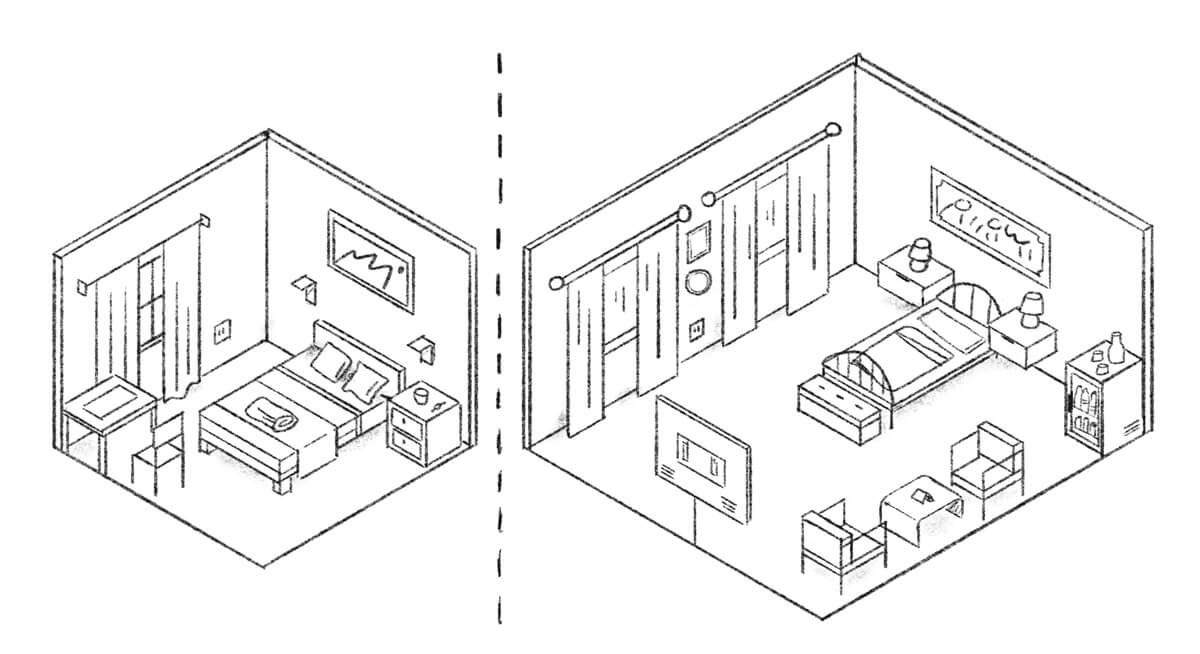 A sketch prototype that challenges customers to make a trade-off decision (big room but not-so-great bed or small rom but great bed). This helps business designer shape a strategy.