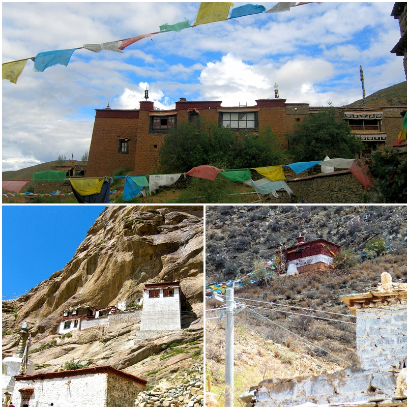 Top: The side view of Dechen Choekhor Tibet. Bottom: The retreat houses of Dechen Choekhor Tibet designated for the intensive practice of the lineage teachings.