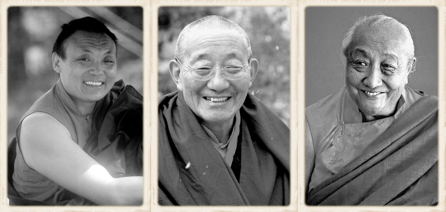 The three root-gurus of the present Choegon Rinpoche (from left): The 8th Khamtrul Rinpoche, The 8th Adeu Rinpoche and Dilgo Khyentse Rinpoche.