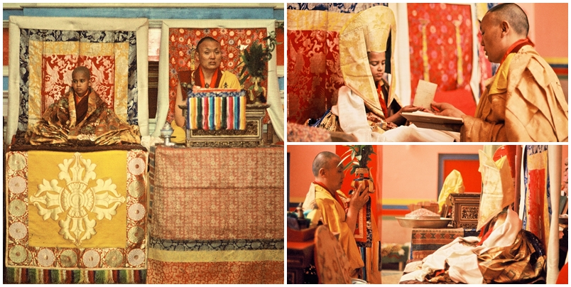 The present Drukpa Choegon Rinpoche's enthronement rituals and ceremony conducted by his first root guru, the 8th Kyabje Khamtrul Rinpoche at Khampagar, Tashi Jong, Northern India.