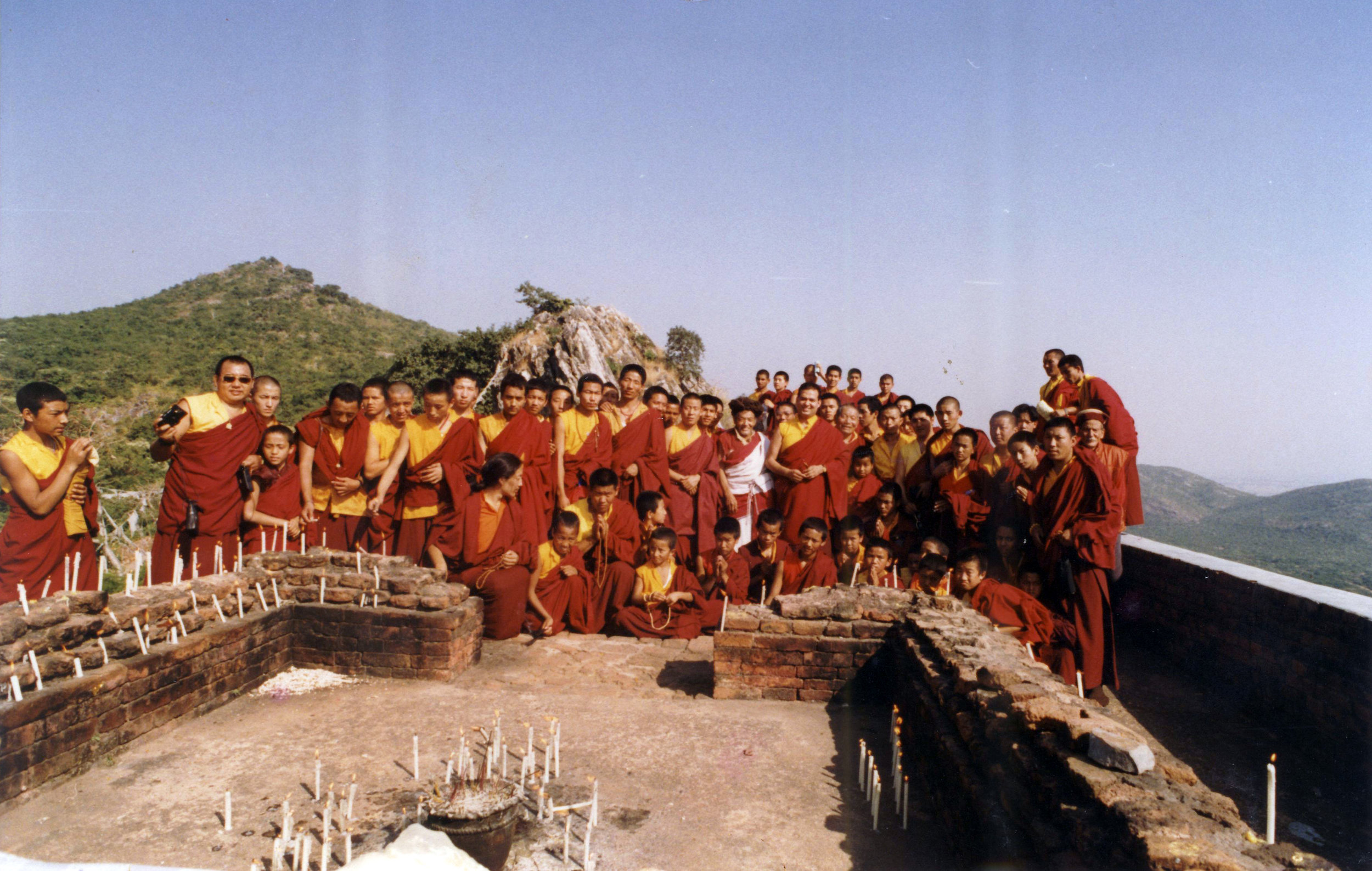 Choegon Rinpoche leads all the Tashi Jong's monks for pilgrimage in the 1990s.