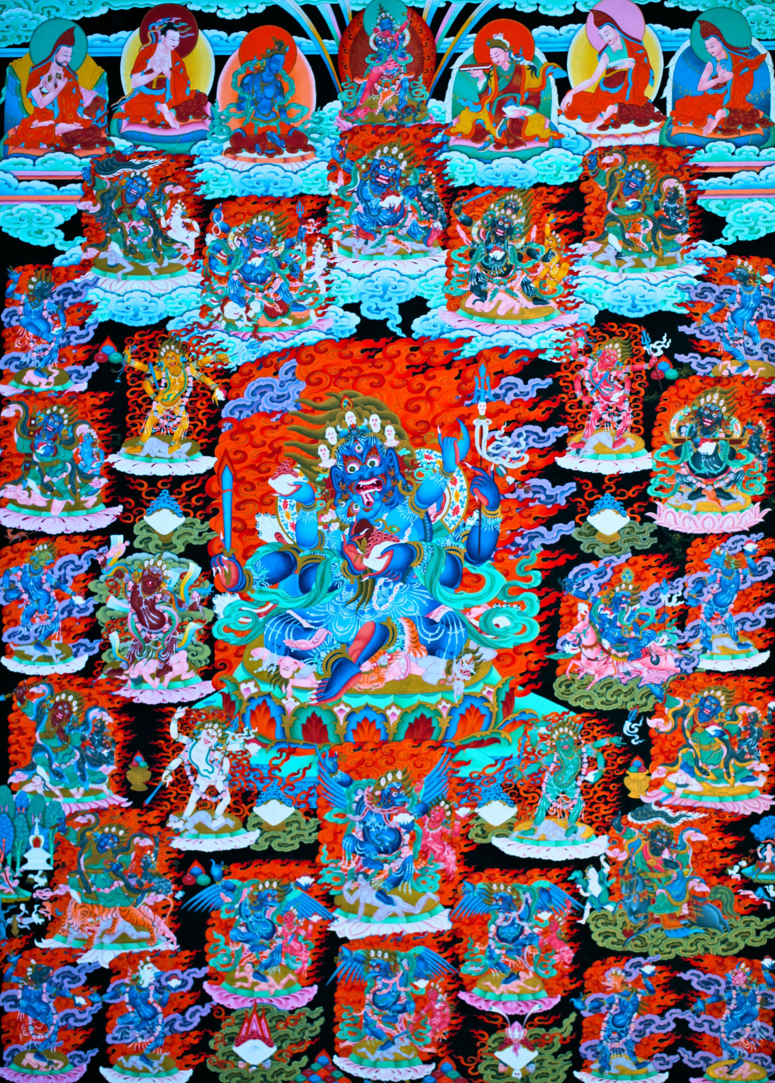 Dechen Choekhor Four-armed Mahakala thangka