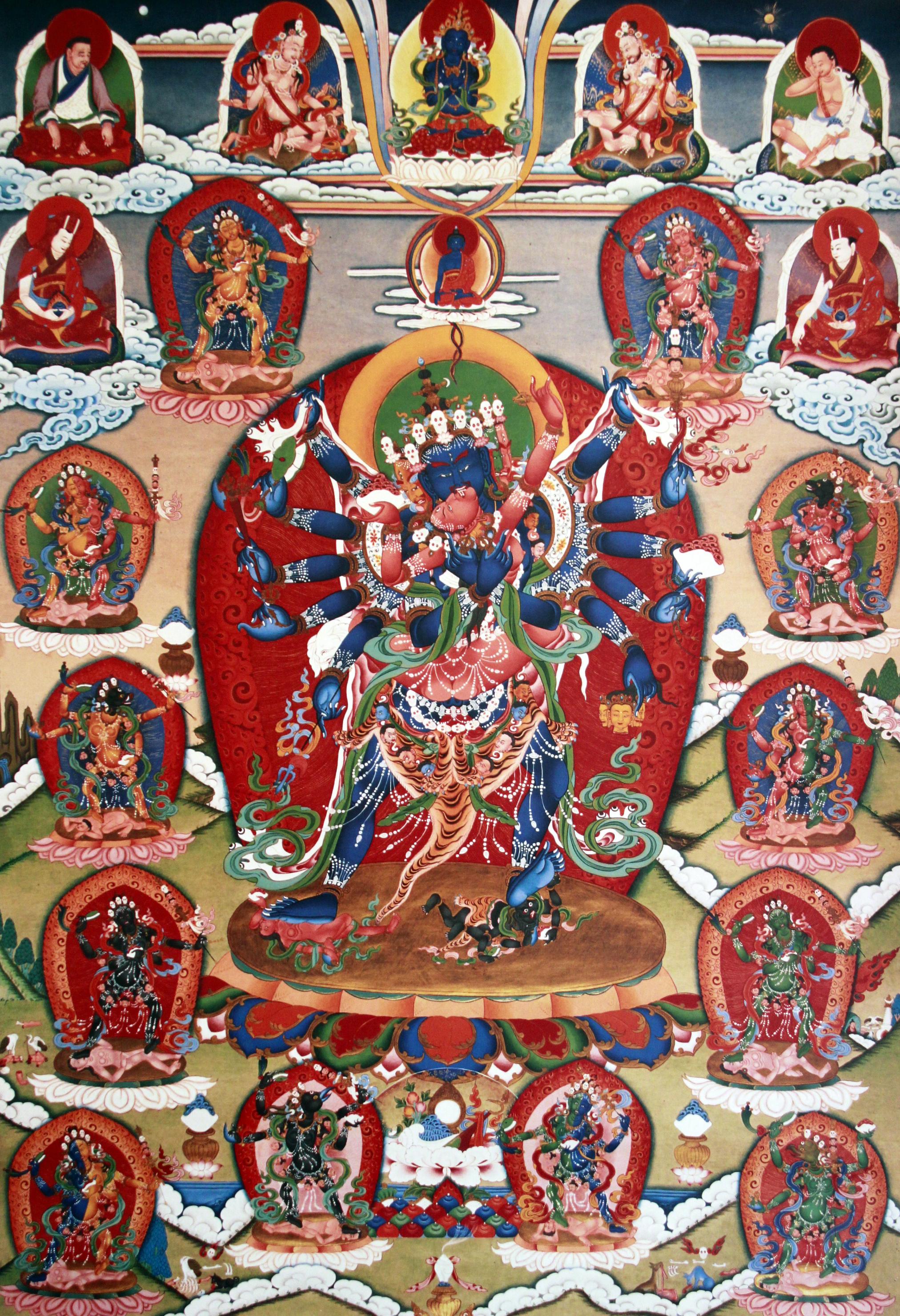 Dechen Choekhor's Twelve-armed Chakrasamvara thangka