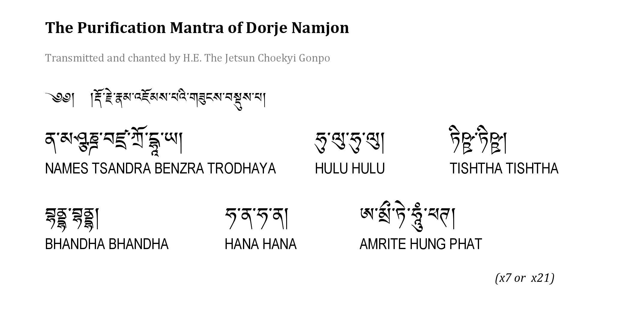 Dorje Namjon Mantra by Choekyi Gonpo IX