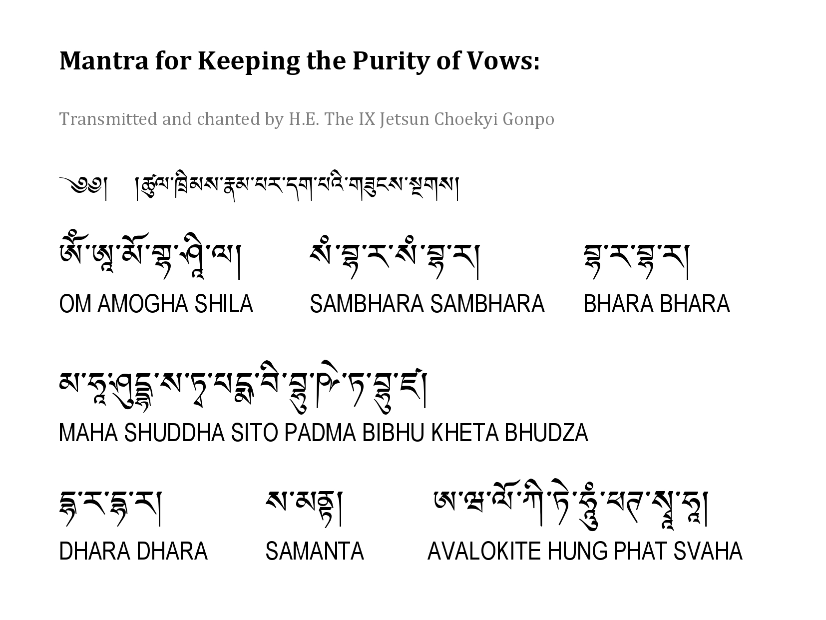 Mantra for Keeping The Purity of Vows by Choekyi Gonpo IX