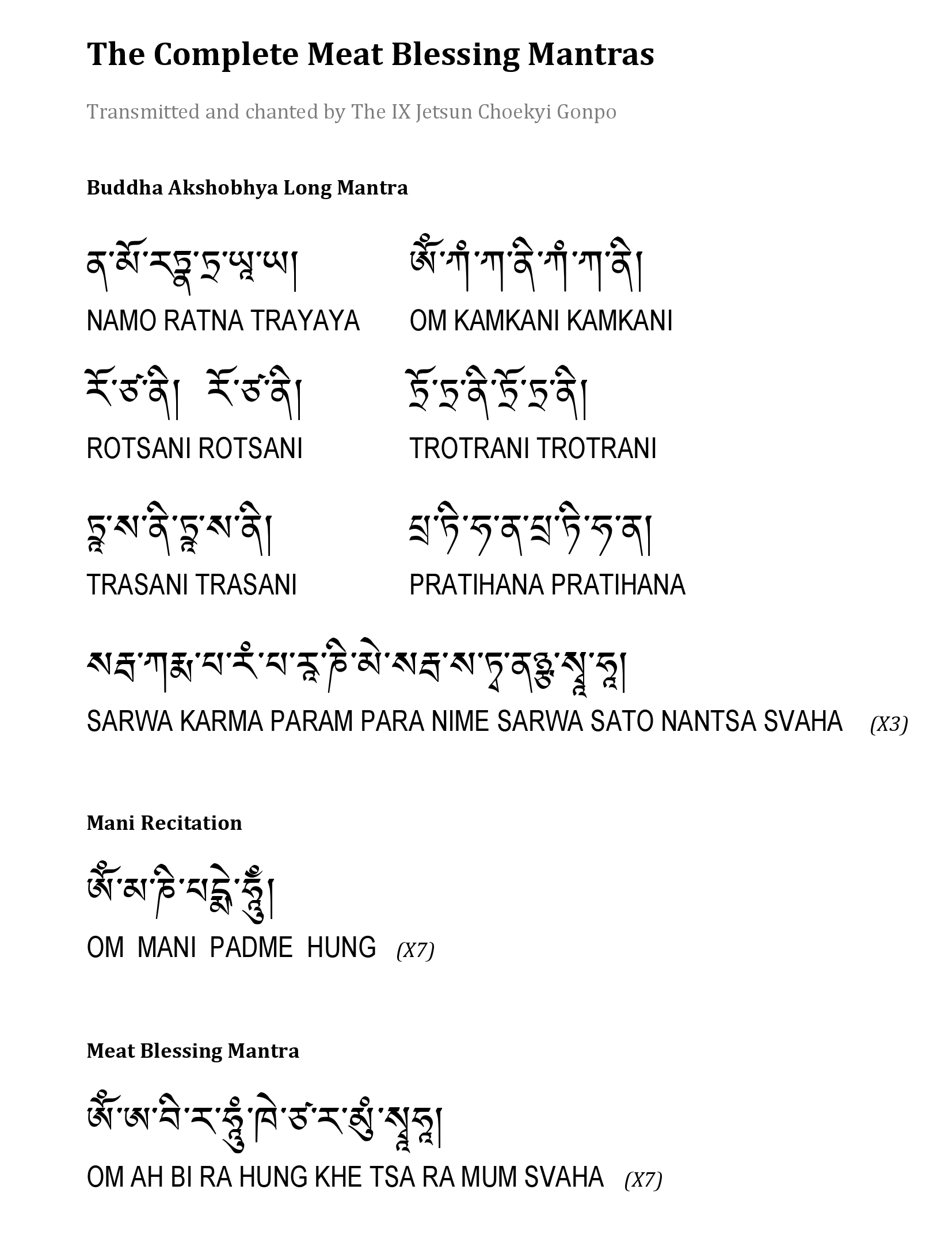 Meat Blessing Mantra by Choekyi Gonpo IX