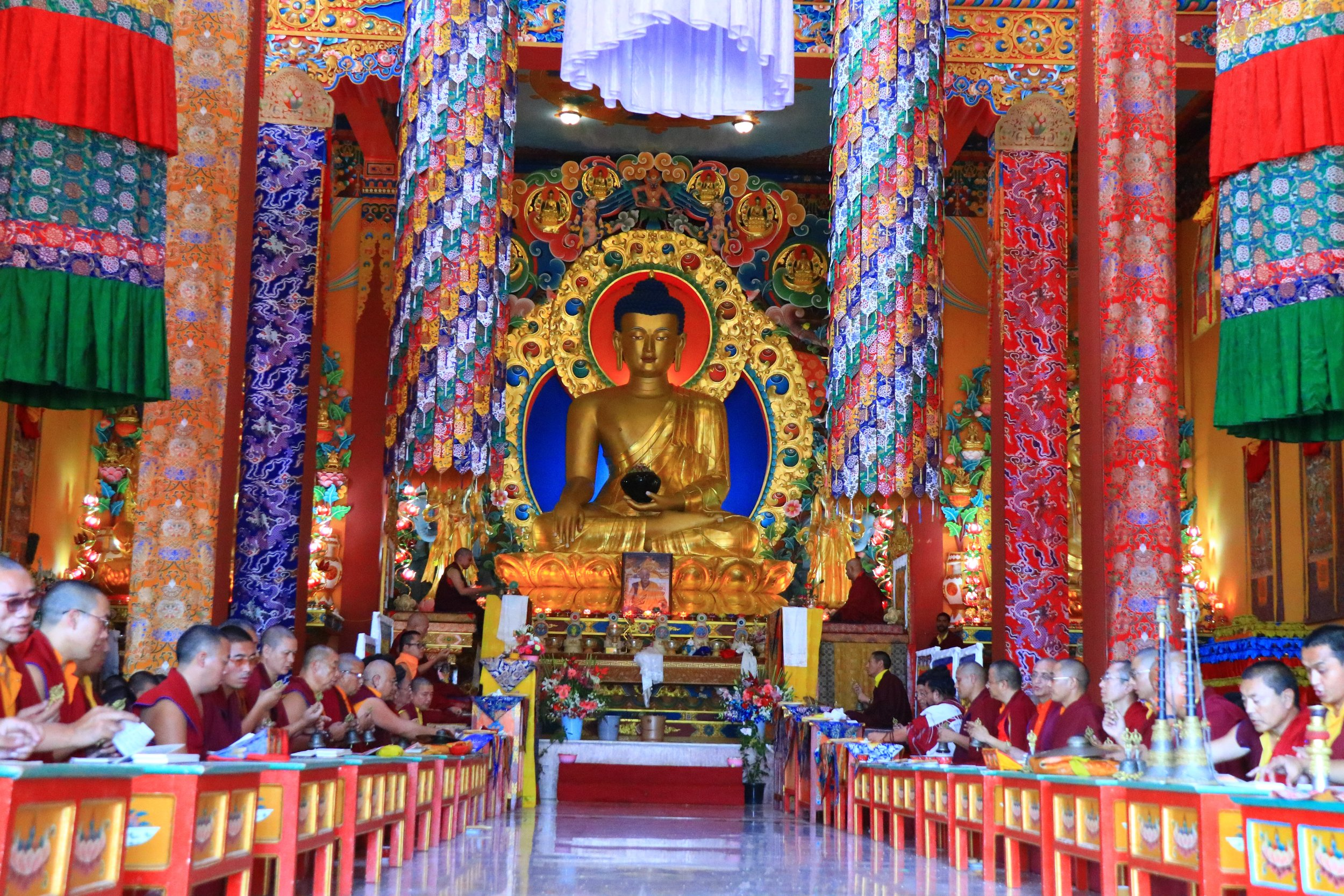 Dechen Choekhor Grand Puja at the main shrine hall.