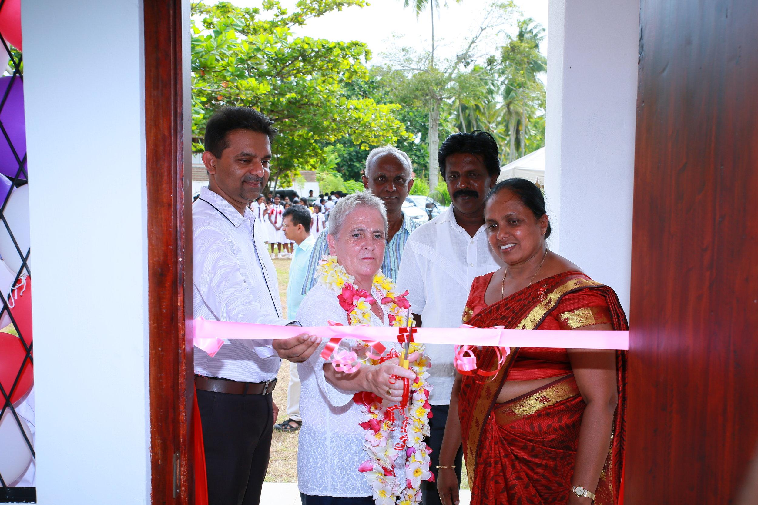 Chris McGrail opening the new building in Moragalla Junior School, Sri Lanka.