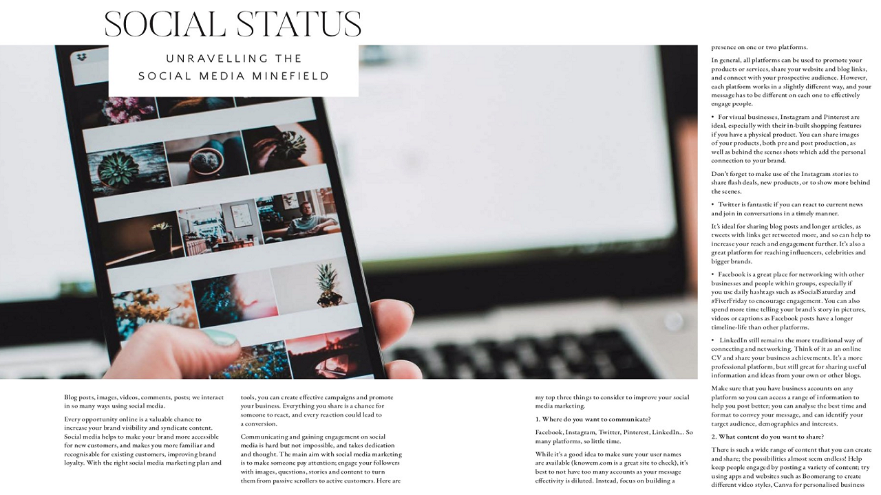 Guest Article - The Homeworker Magazine   Unravel the social media minefield with CEO Emily's top tips on communicating successfully on social media. The Homeworker Magazine is for the modern homeworker, equipping you for a healthy mind, body and business.