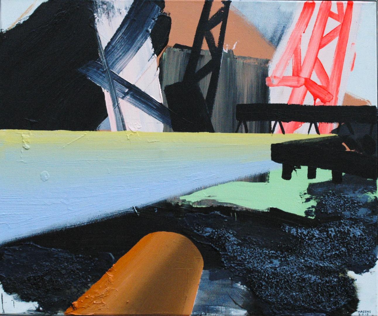 Buildingsite Oosterschelde #2 | 100 x 120 cm | Acrylicpaint & Emulsion on Canvas | 2015 | Sasja Hagens_.jpg