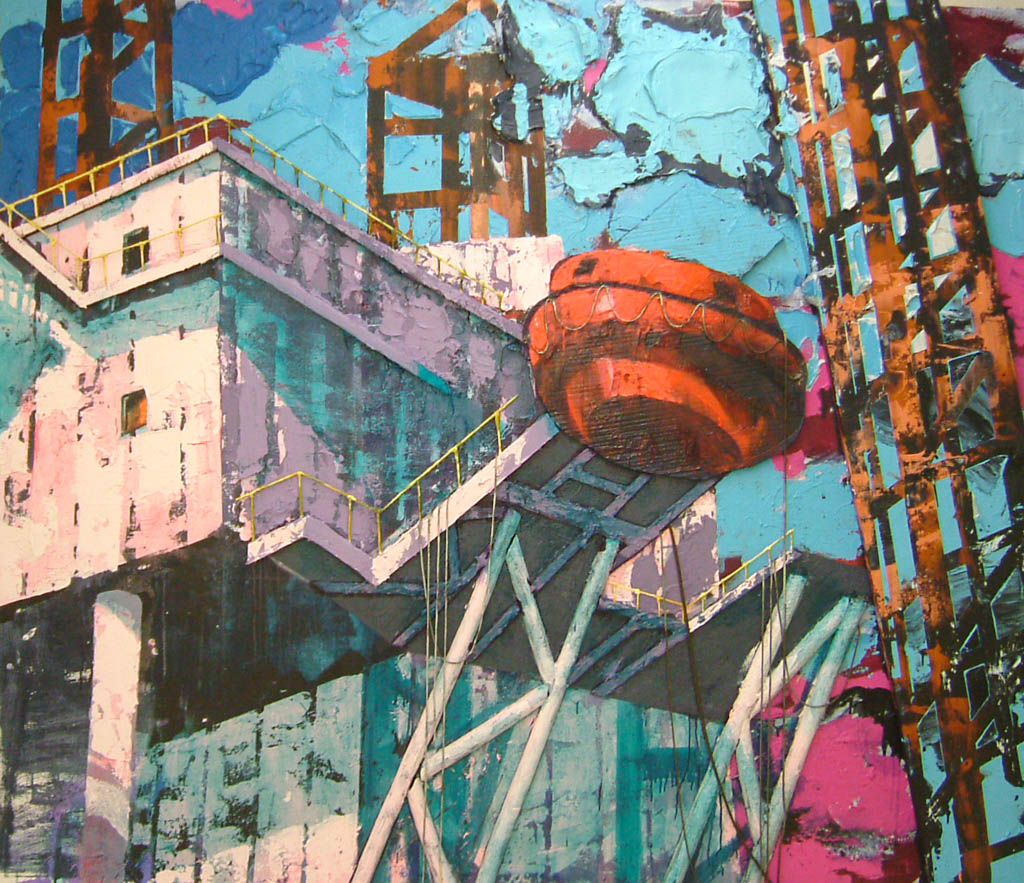 'Drilling platform',  2.00 x 2.40 m , paint, emulsion, sand, ropes, styrofoam on canvas,hagens 2007.jpg