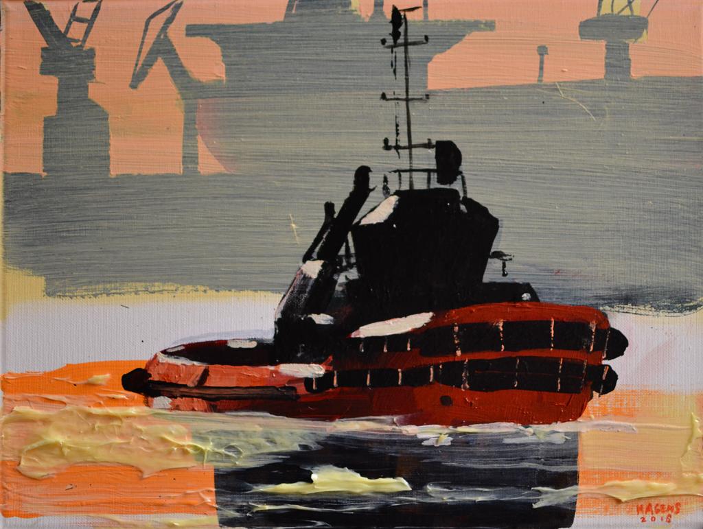 Tugs in action #3   30 x 40 cm   Acrylic paint and emulsion (aluminium framed)   Damen Shipyards   2018   Sasja Hagens (c).jpg