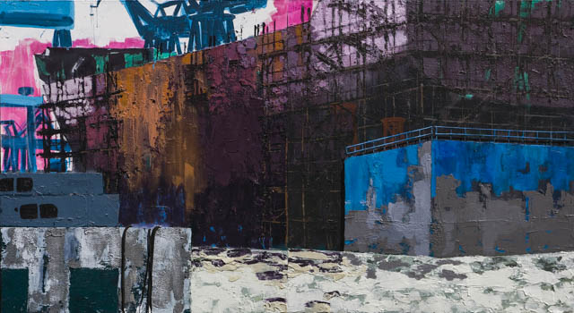 Shanghai Shipyard | 185 x 340 cm x 10 cm | Acrylic paint, styrofoam, emulsion, ropes and sand on canvas