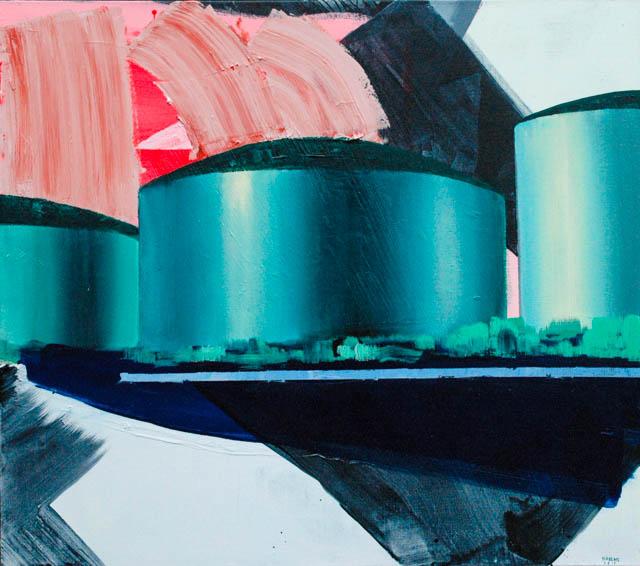 Tankterminals Rotterdam | 150 x 170 cm | Acrylic paint & emulsion on canvas