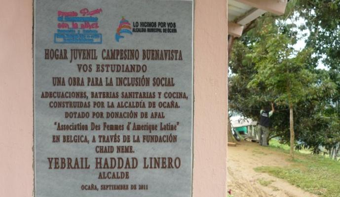 Installation d'un foyer de jeunes en zone rurale Mairie de Buenavista – Colombie 2010 - Ocahaest une ville de taille moyenne (100.000 habitants), située dans la province de Santander au nord de la Colombie. Trop peu d'enfants et de jeunes issus du secteur rural de cette municipalité ont accès à l'éducation secondaire.