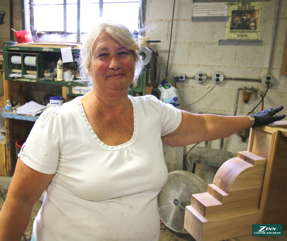 Mary - Mary works in our finish room. She begins our finish process by mixing stain and applying it to your cabinets. We focus our efforts on finishes that are aesthetically pleasing to the eye, while also ensuring it's durable and protects your cabinets from wear and tear.