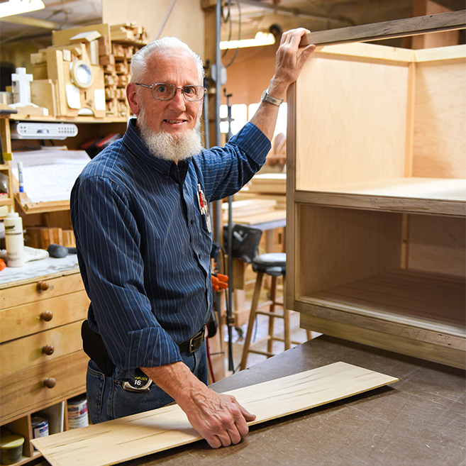 Richard - Richard can be found in our building department. Taking the time to make sure each cabinet is built as intended and with the quality that our customers have come to expect makes Richard very good at what he does.