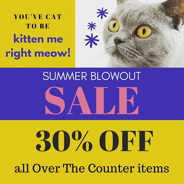 Get set with our back to school sale! Now through the end of August, celebrate back to school (and Malcolm going to Kindergarten) with 30% off our over the counter products! Visit us at 6804 Aloma Avenue for all the details! #backtoschool #OTCsale #30%off #catpuns #pharmacy #alomapharmacy