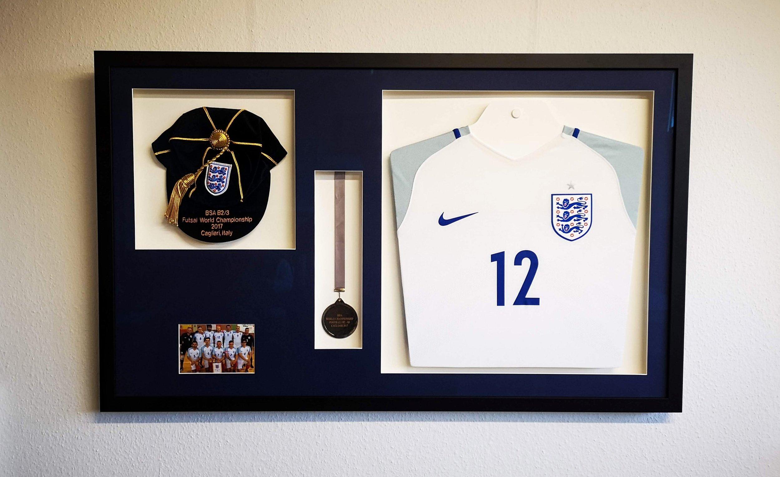 england football cap medal and shirt framed