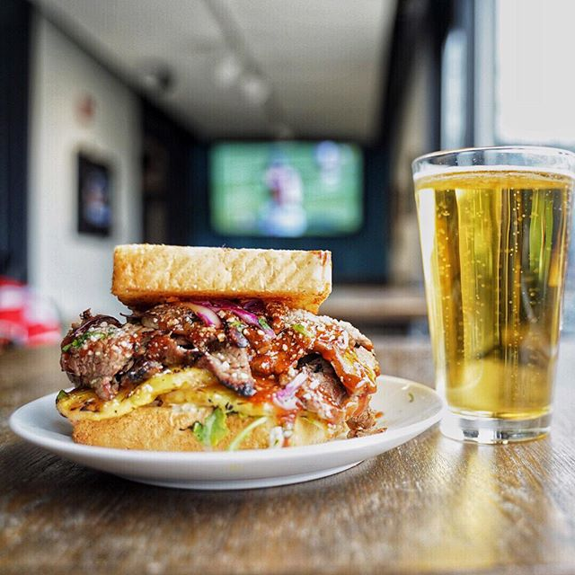 "Enough with all that ""new year, new me"" junk. Grab a flank steak sandwich from @coop_detroit and a beer and let's kick 2019 off RIGHT. #newyearsameyou #detroitshippingcompany"
