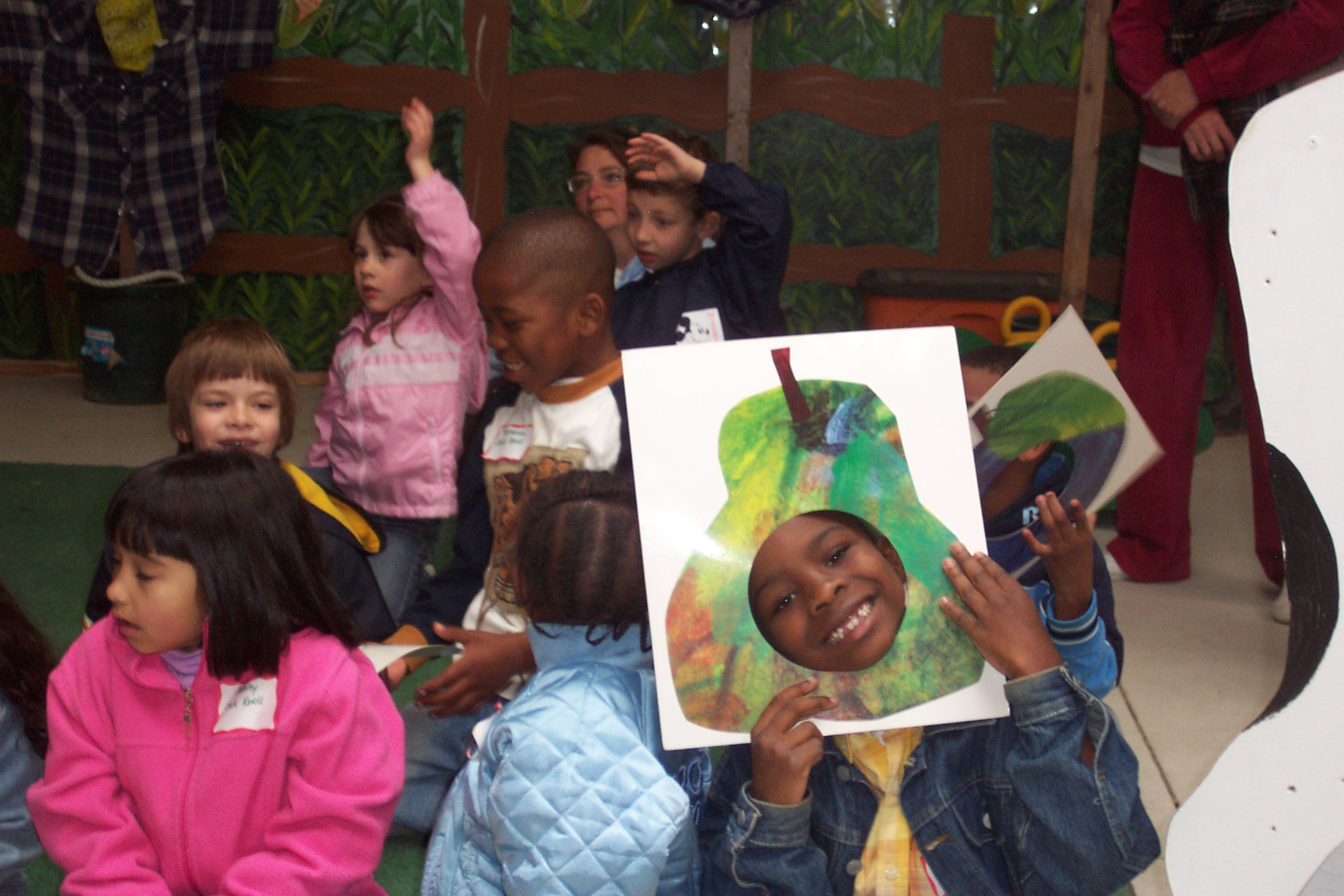 """The Very Hungry Caterpillar story comes alive in our Learning Barn then each student will make a """"Hairy Caterpillar"""" to take home with them and watch it grow on their windowsill!"""