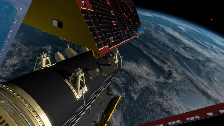 CGI image of GRACE-FO satellites preparing to launch from the Falcon 9