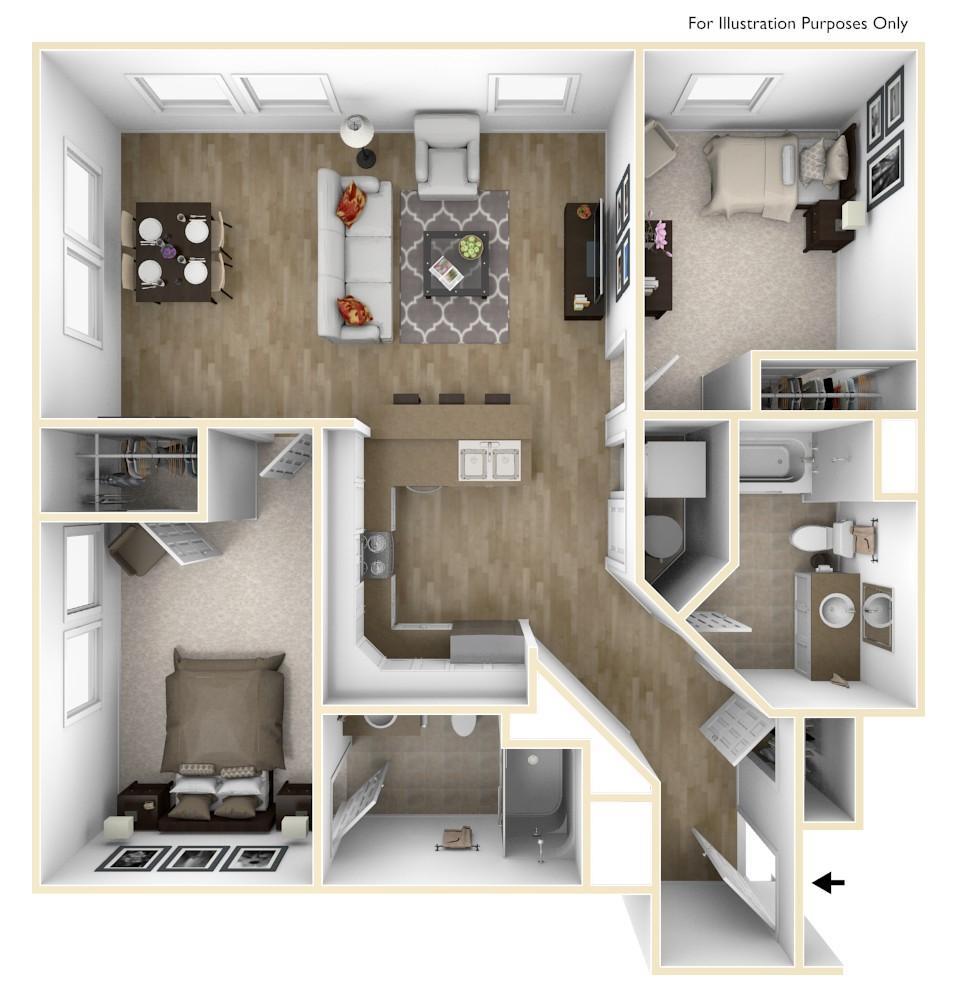 B1   2 Bedroom   1,020 Square Feet