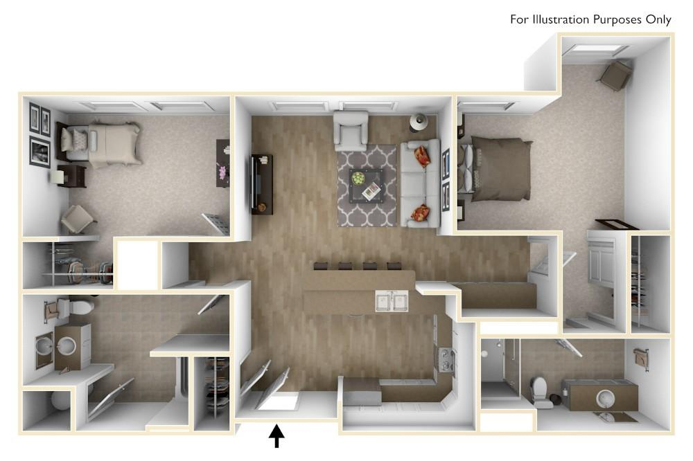 B2A | 2 Bedroom (Opt.2) | 951 Square Feet
