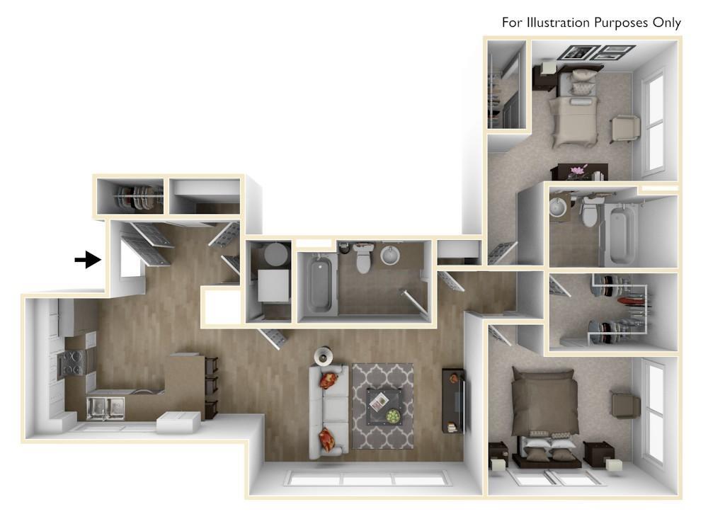 B4   2 Bedroom   1,028 Square Feet