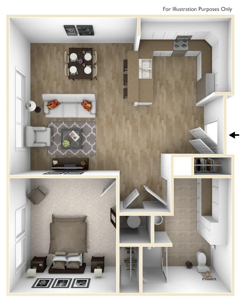 A2A | 1 Bedroom | 762 Square Feet