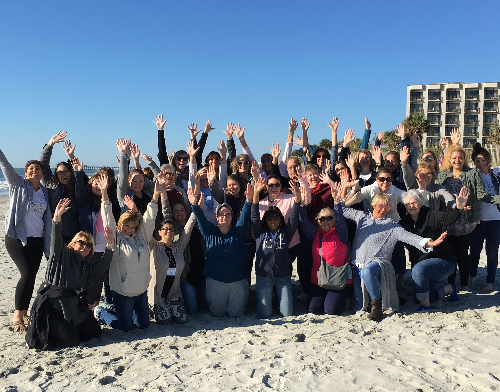 Most of our group after our Sunday service at the beach…