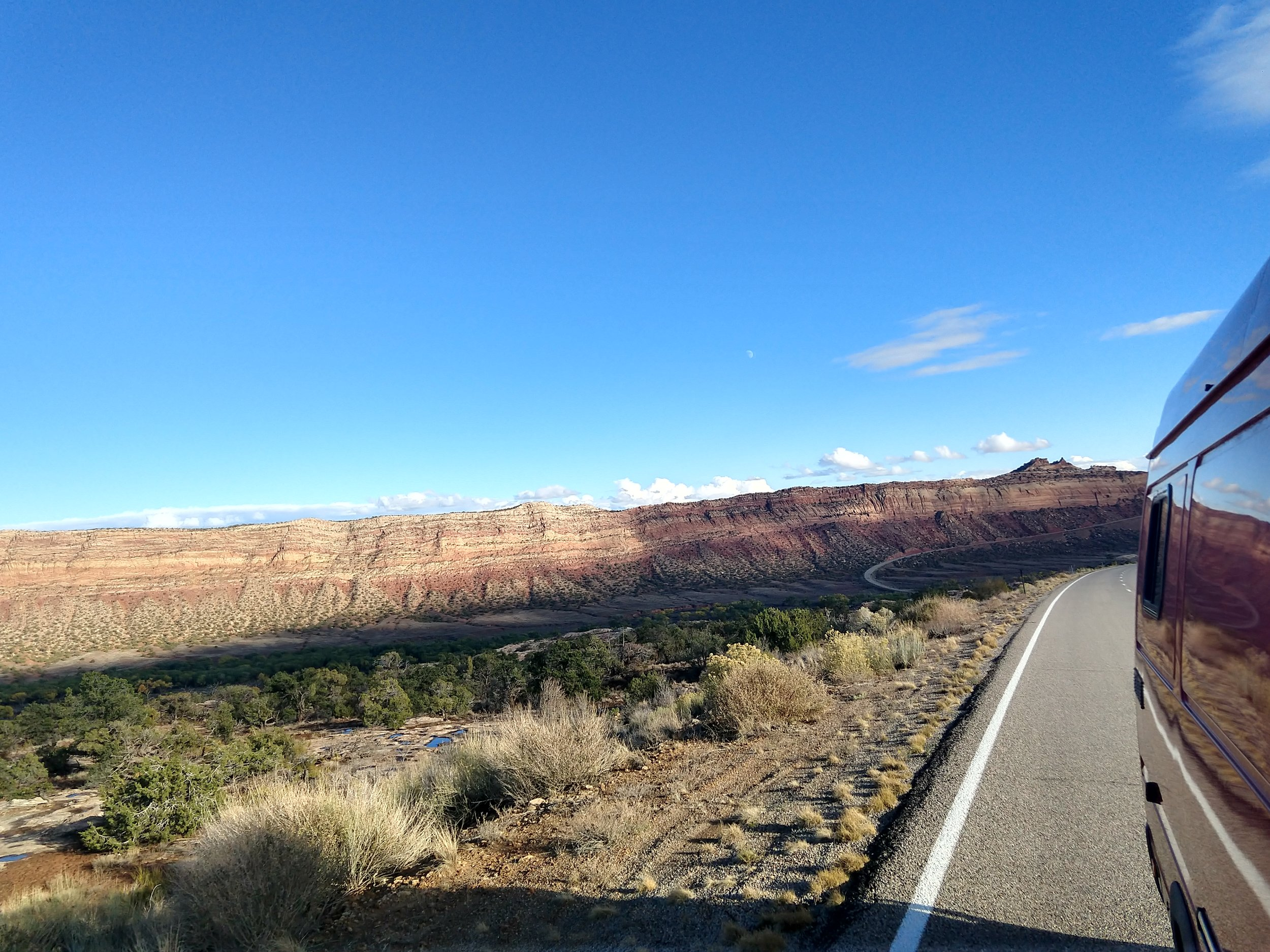 On the road, out of Moab.