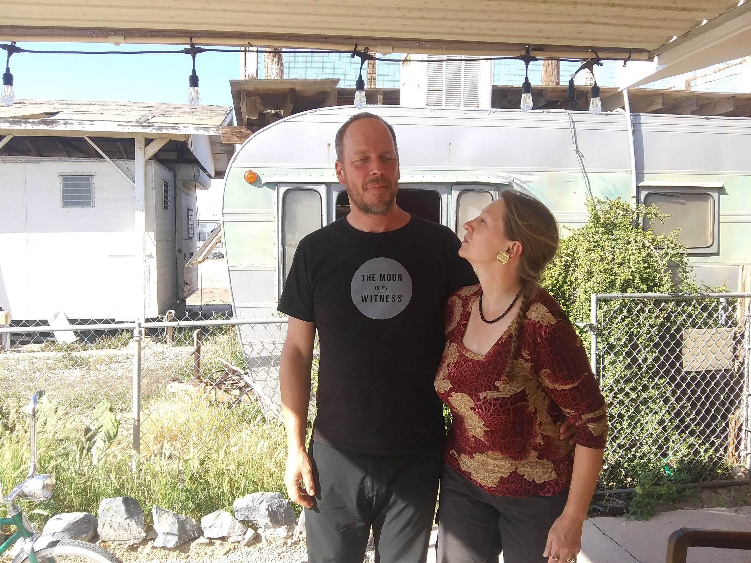 Uwe H. and Frauke , at their home in Bombay Beach, CA