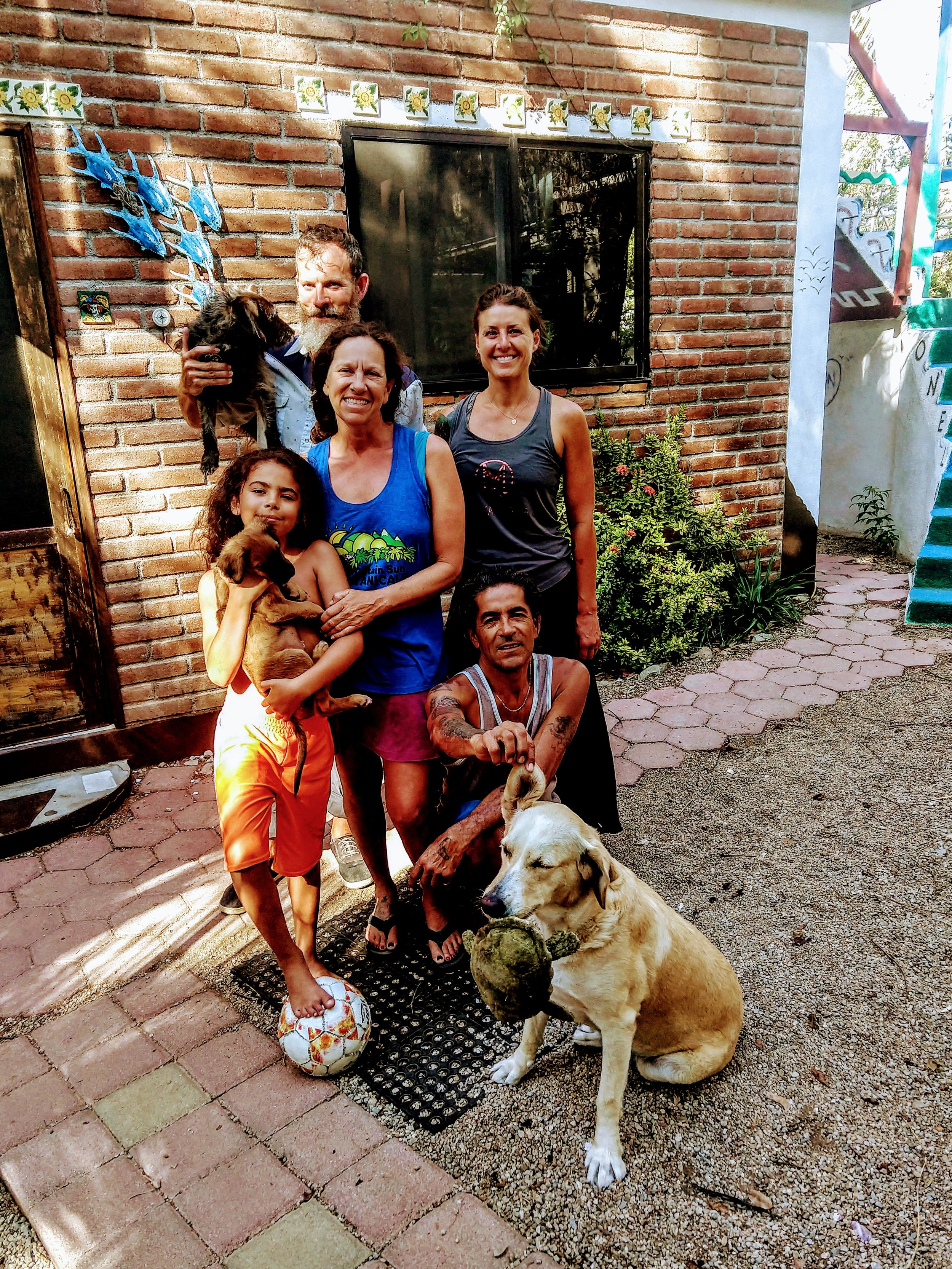 Our hosts in Cabo San Lucas, Laura, Martin, Their son Zion, and their dogs Simba and Arena.