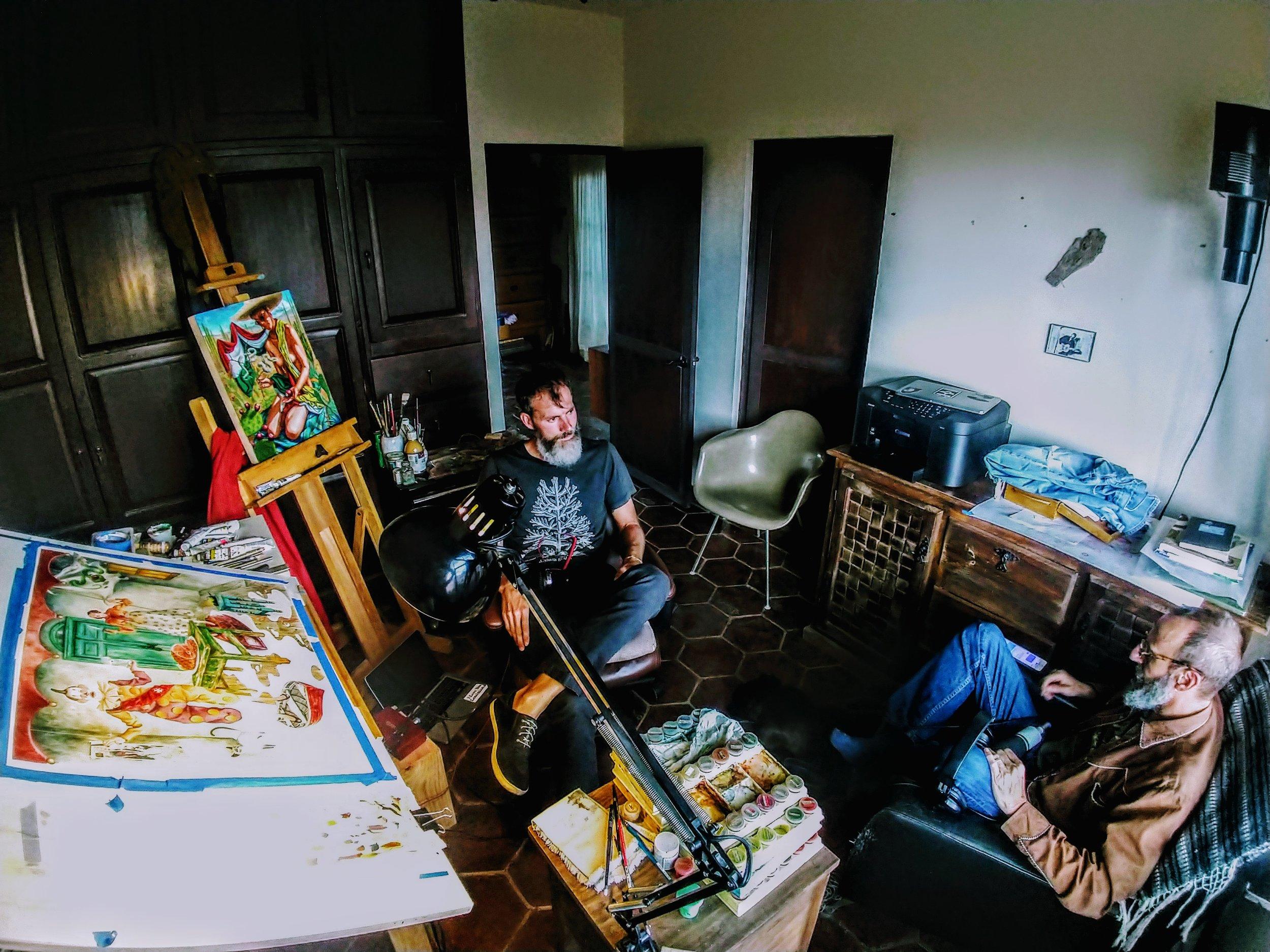 The painting studio in Dan Piraro's home - San Miguel De Allende.