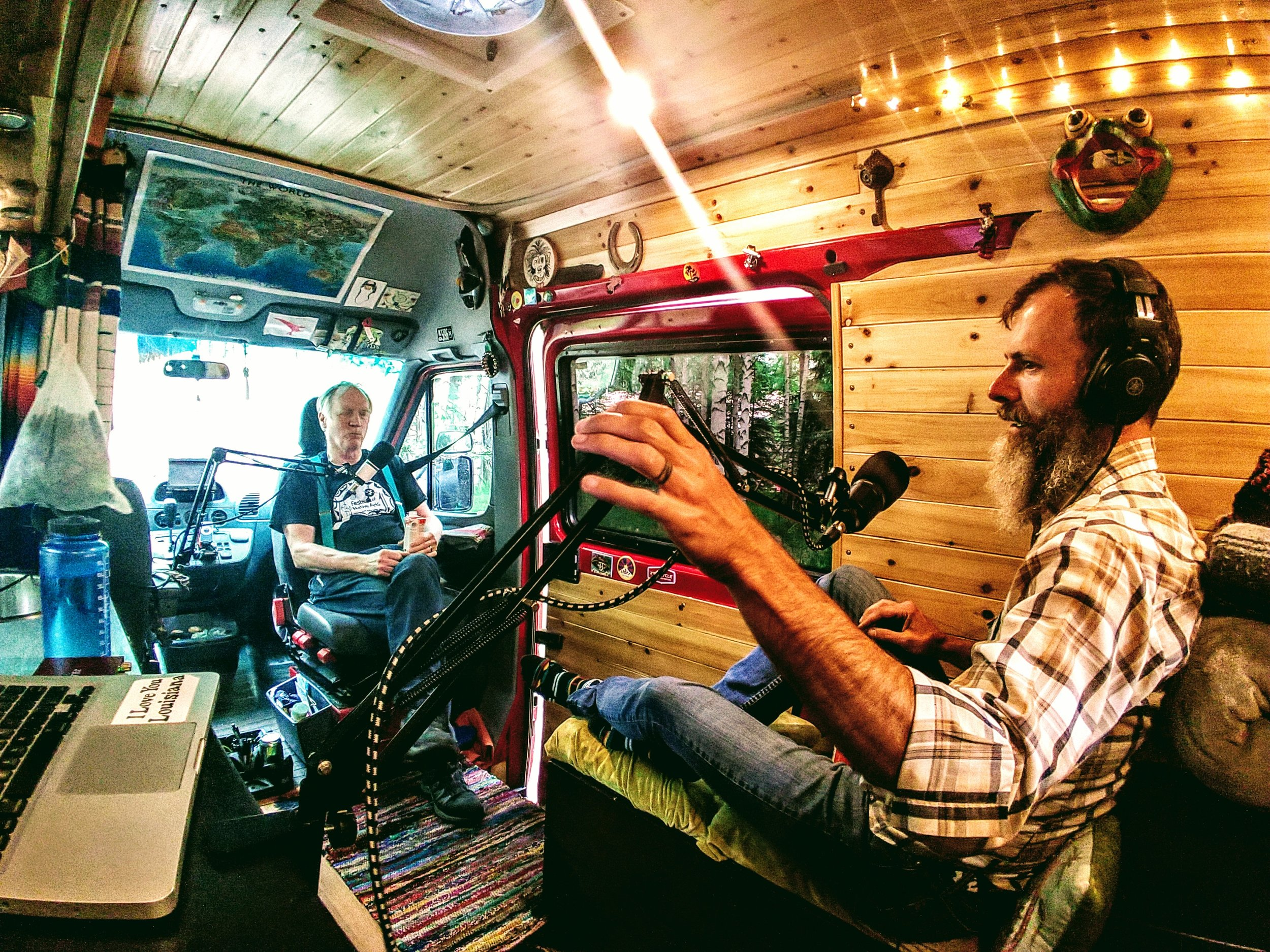Gary Toth recording a podcast in Fairbanks, AK