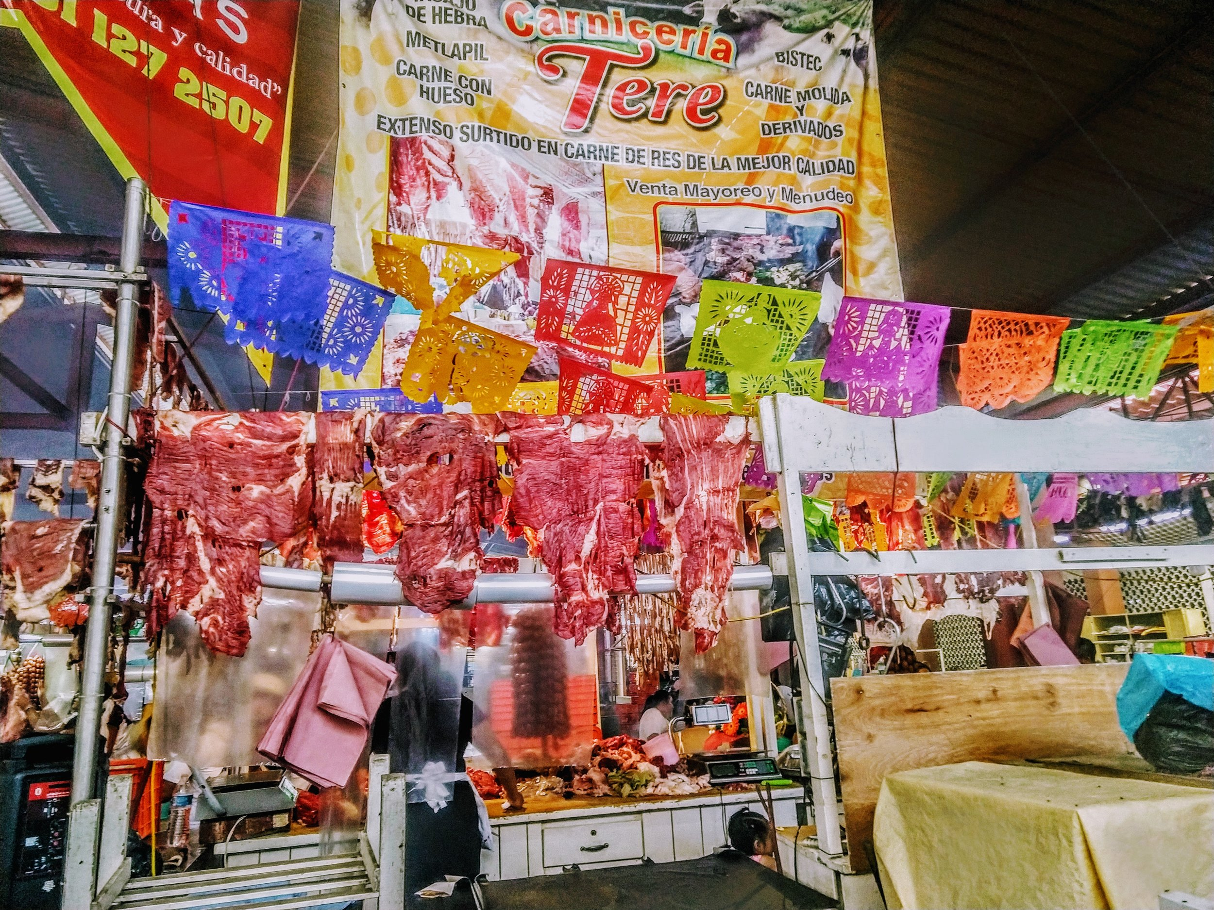 One of dozens of meat stands - Tlacolula, MX