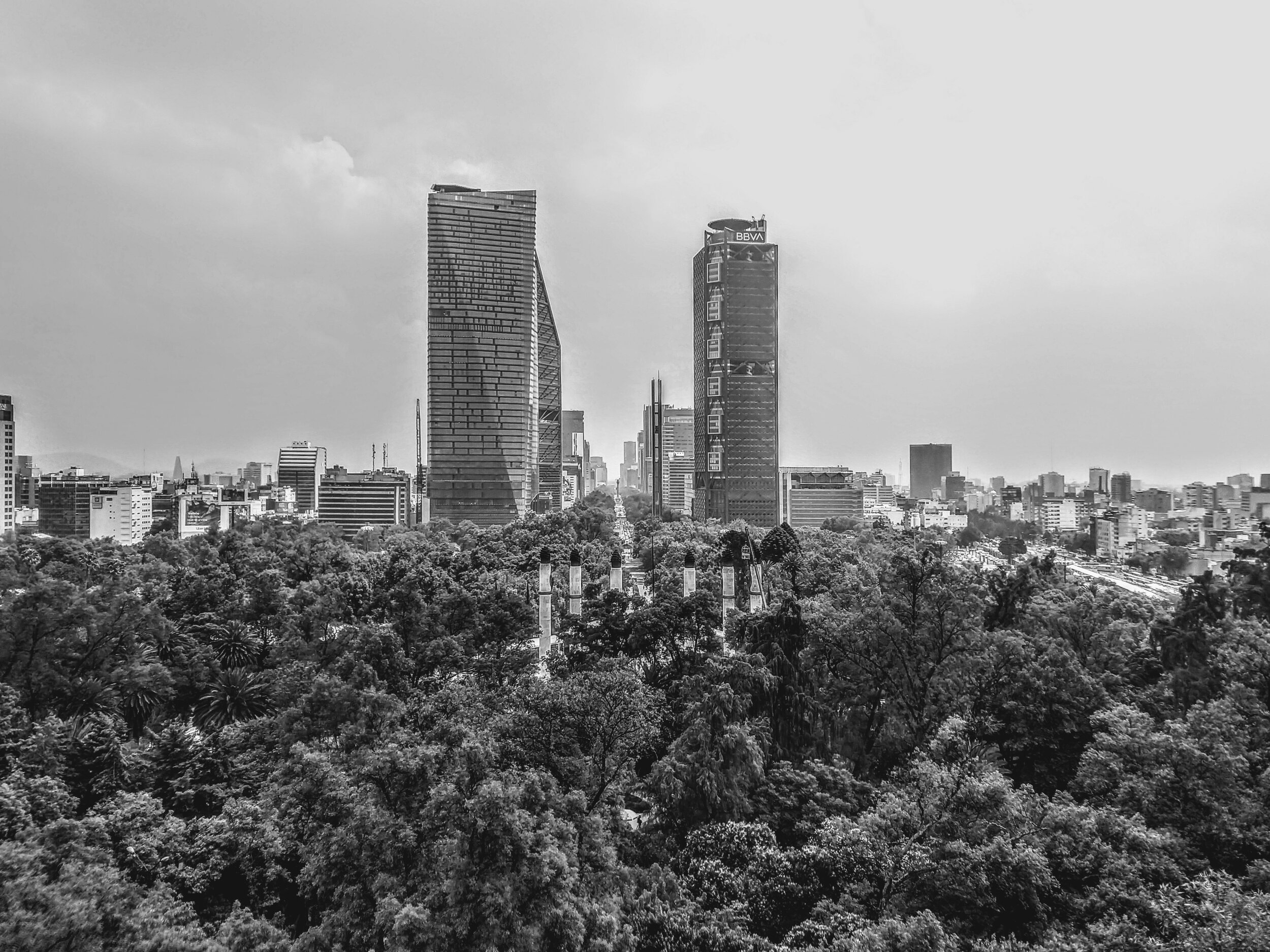 Taken from a castle in a park in Mexico City