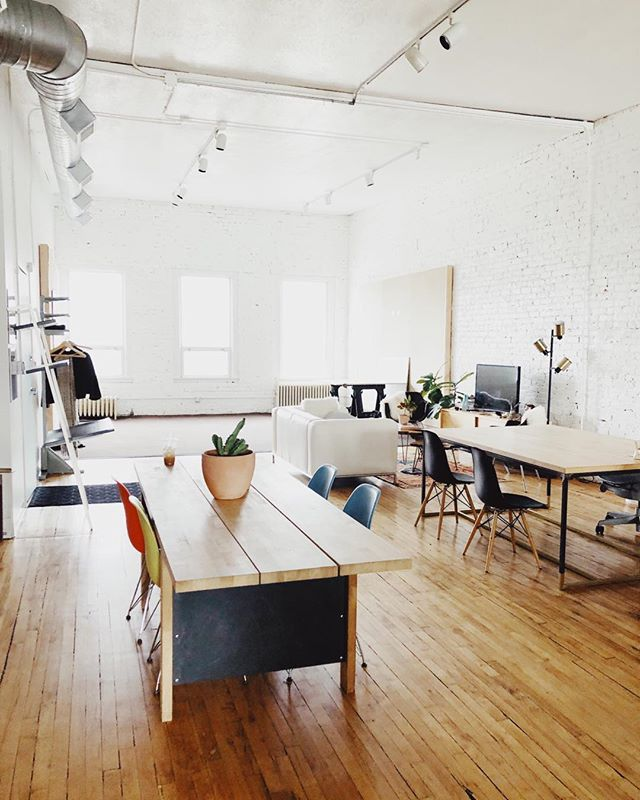 New studio! Blank slate. We'll have to have you over sometime soon. In the mean time, enjoy this lovely vision of clear tabletops and open windows before we mess it all up. #springclean