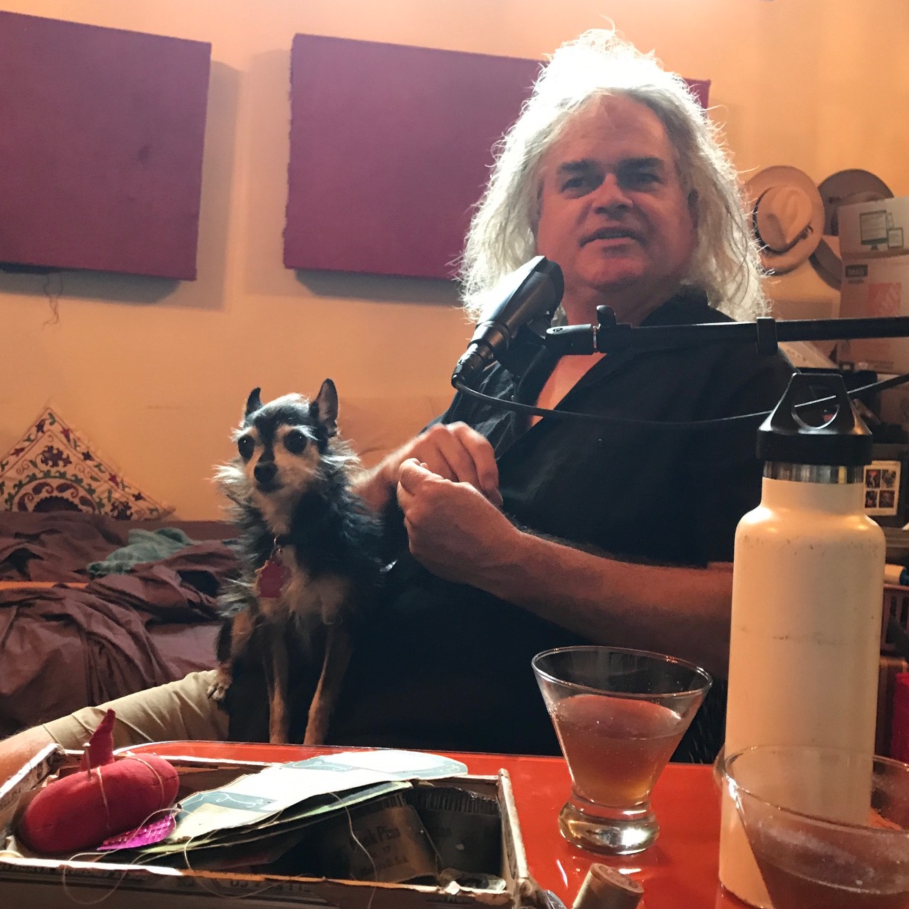 Here's Jeff in his studio/home. Note the sewing kit and Eye Opener cocktail as featured in the podcast. Lemmy the Dog didn't make the cut, unfortunately (too bitey).