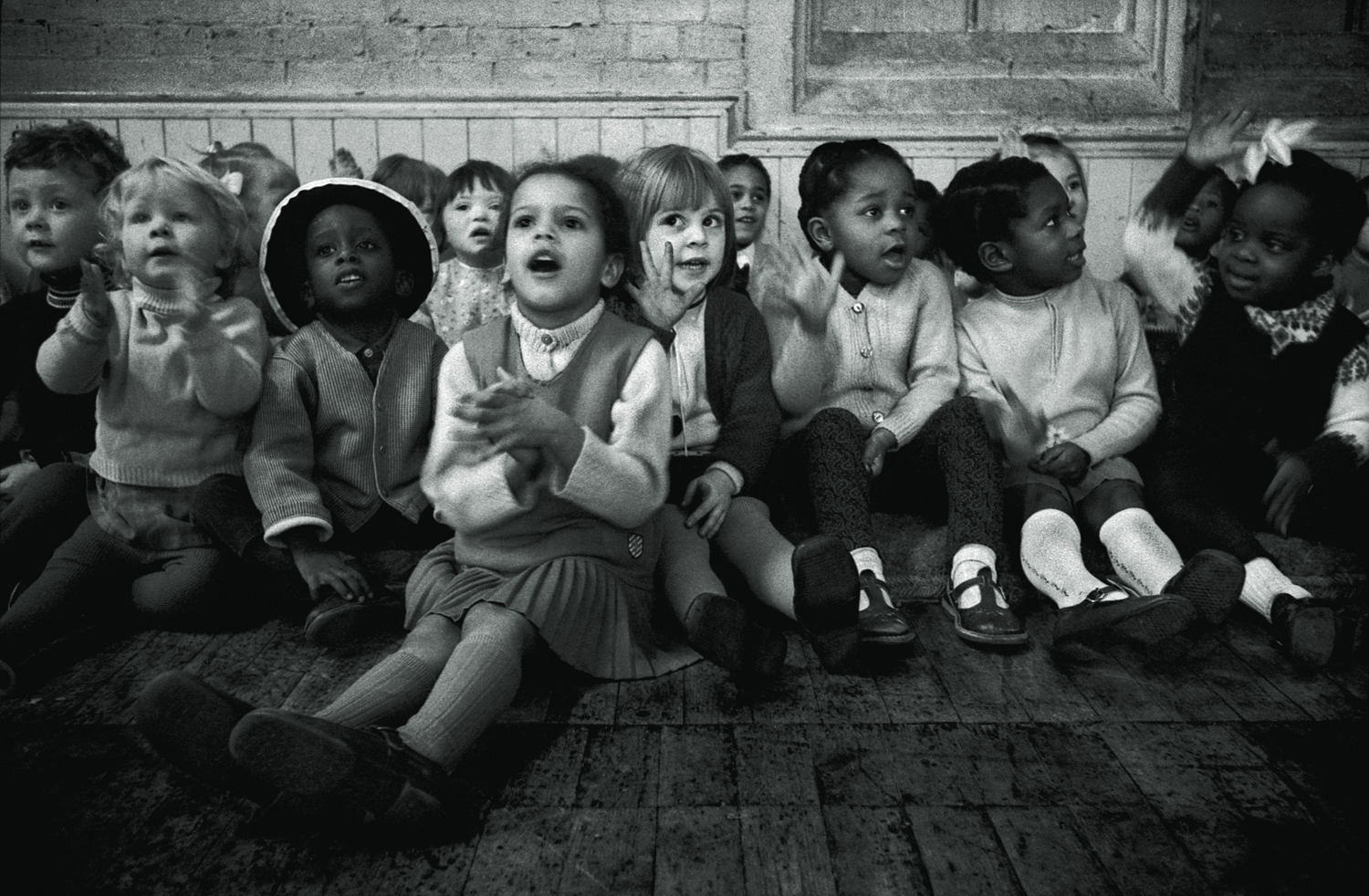057 In a preschool children clapping and singing, Brixton, 1976, d141.jpg