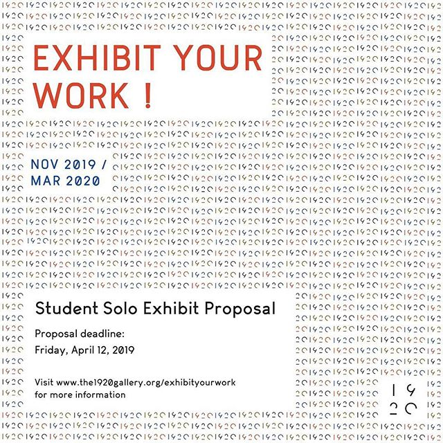 Don't forget! Proposals to exhibit are due next Friday! Visit www.the1920gallery.com/exhibityourwork for details!